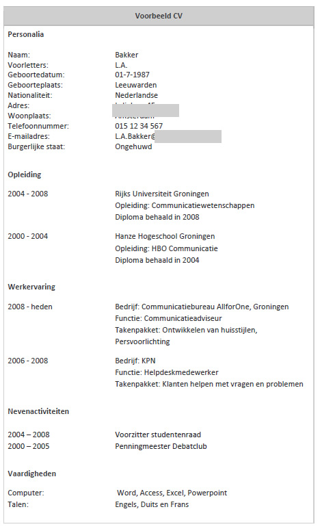 volgorde motivatiebrief CV   Curriculum Vitae volgorde motivatiebrief