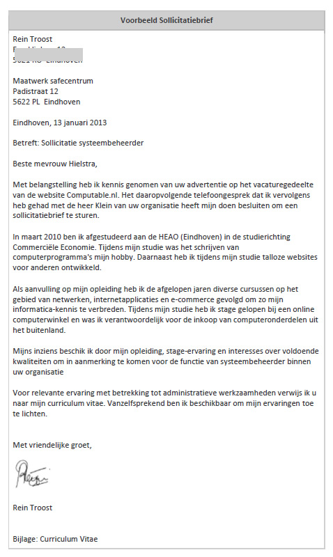 sollicitatie brief